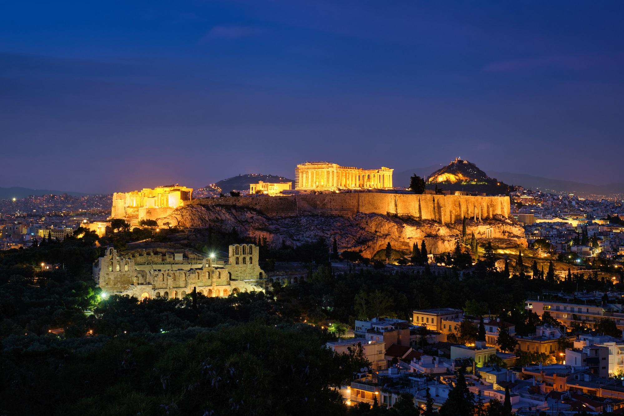 Iconic Parthenon Temple at the Acropolis of Athens, Greece